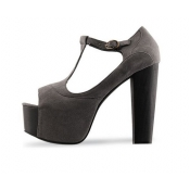 2011 thick heel joker high heel Sandals  grey matte