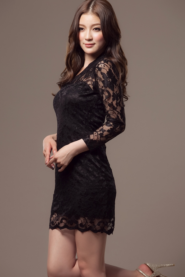 Party Skinny Long Sleeves Solid Black Silk BaseLayers