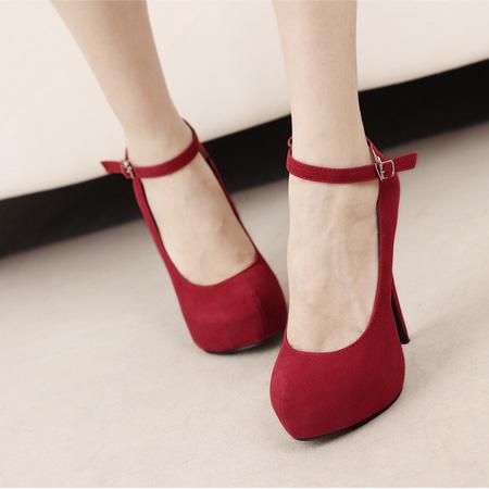 Corean Suede Round Closed Toe Super High Stiletto Red Ankle Strap ...