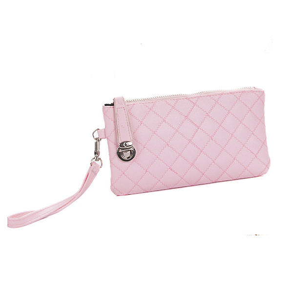 Fashion Solid Zipper Clutches Design and  Plaid Pattern Light Pink Leather Wallet