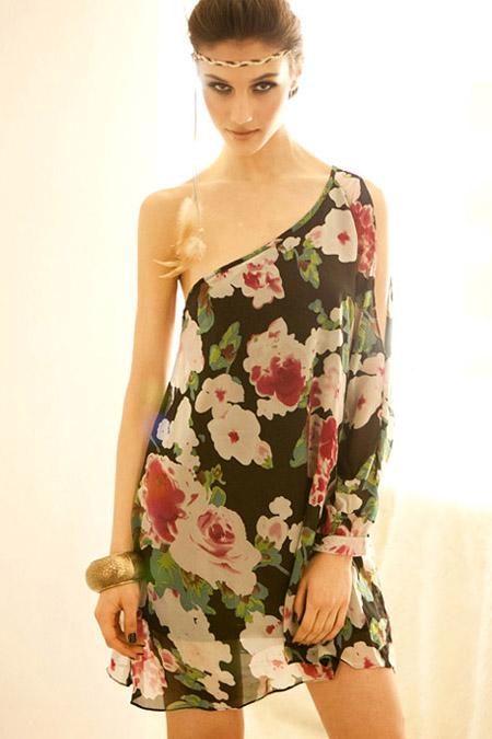 Fashion One Shoulder Long Sleeve Straight Black Chiffon Mini Dresses