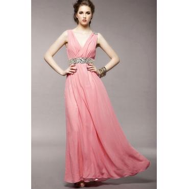 Elegant Pleated V Neck Tank Sleeveless Chiffon Floor length Dress