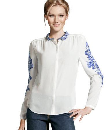 Fashion New Flower Printed Turndown Collar Long Sleeve
