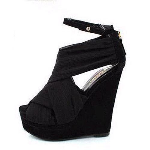 Silk Wedge Super High Fashion Ankle Strap Sandals
