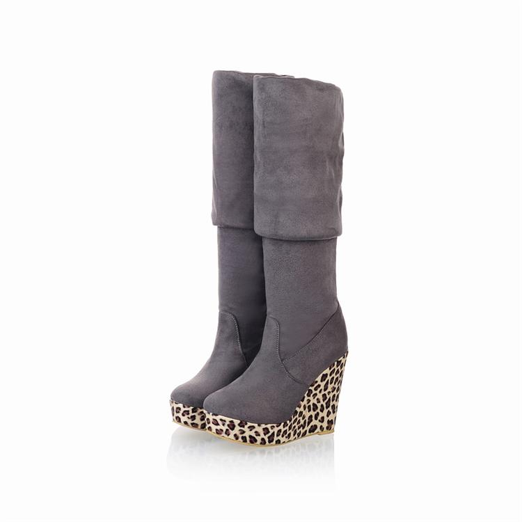 fashion toe high wedge grey suede the