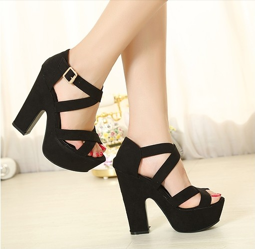 Fashion Chunky High Heels Black Suede Cross Strap Sandals Sandals Shoes LovelyWholesale