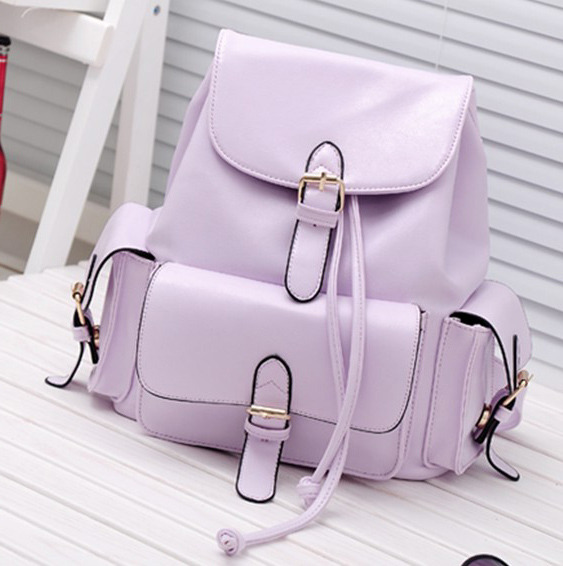 Fashion Girls Solid Purple Leather Backpack String School ...