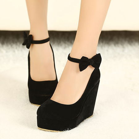 Fashion Round Closed Toe Super High Wedges Black Suede Ankle Strap