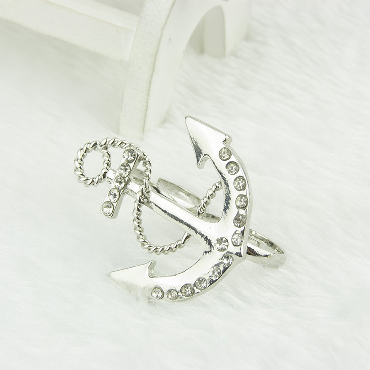 Fashion Sliver Rivet Embellished Anchor Metal Ring