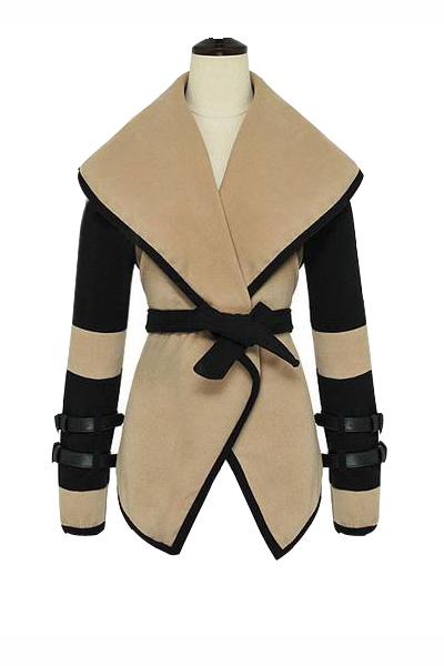 New Style Character Turndown Collar Long Sleeve Imitation Wool Coat