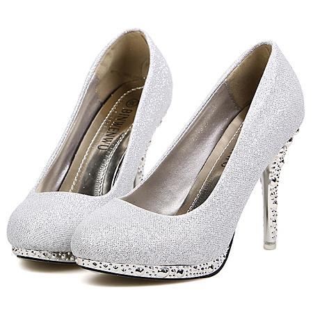 Fashion Rivets Embellished Round Closed Toe Stiletto High Heel
