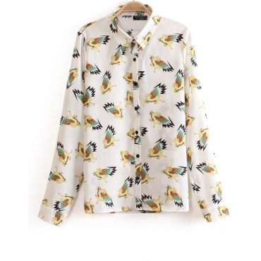 Lovely Horse Print Turndown Collar Long Sleeves Chiffon Blouse