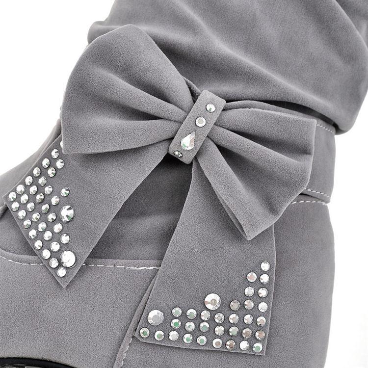 Fashion Round Toe Bow Tie Wedge Low Heel Slip On Beige Short PU ...