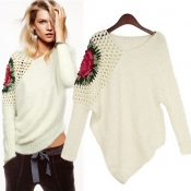 New Style Retro Hollow V Neck Long Sleeve White Pullovers