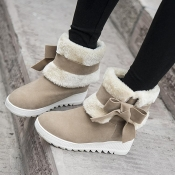 Winter Round Toe Flat Low Heel Slip On Ankle Bow Tie Light Tan Snow Boots