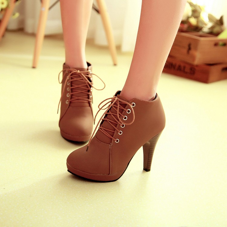 Spring Autumn Round Toe Stiletto High Heel Lace Up Ankle Brown ...
