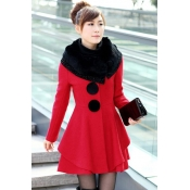 Winter Imitation Suiting O Neck Sleeve Single Breasted Long Red Wool For Woman
