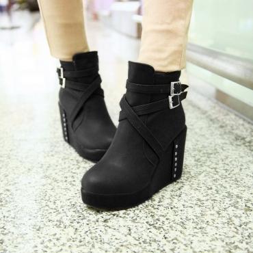 Мода Круглый Toe Коренастый Высокий каблук сапоги на молнии лодыжки пряжки черный PU Martens