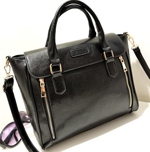Women Fashion Solid Zipper Black PU Shoulder Bag