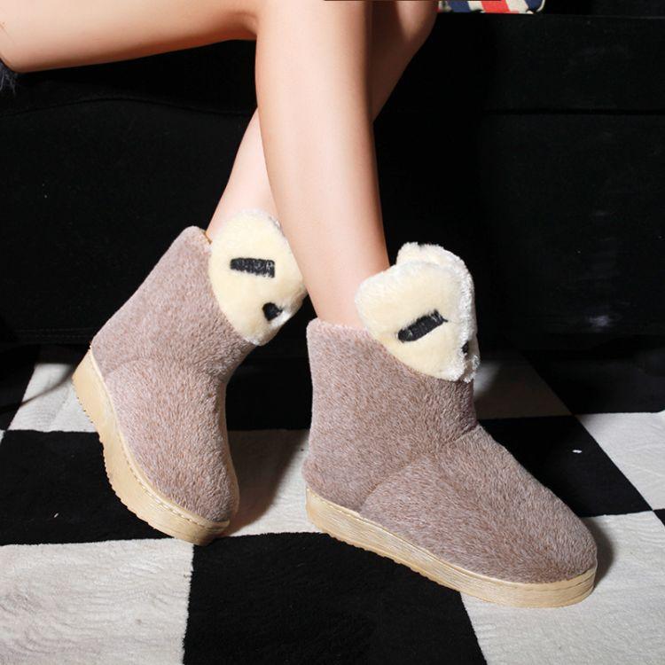 Dedo del pie redondo Invierno Stiletto Heel Mediados Slip On Botas Tobillo Gamuza marrón nieve