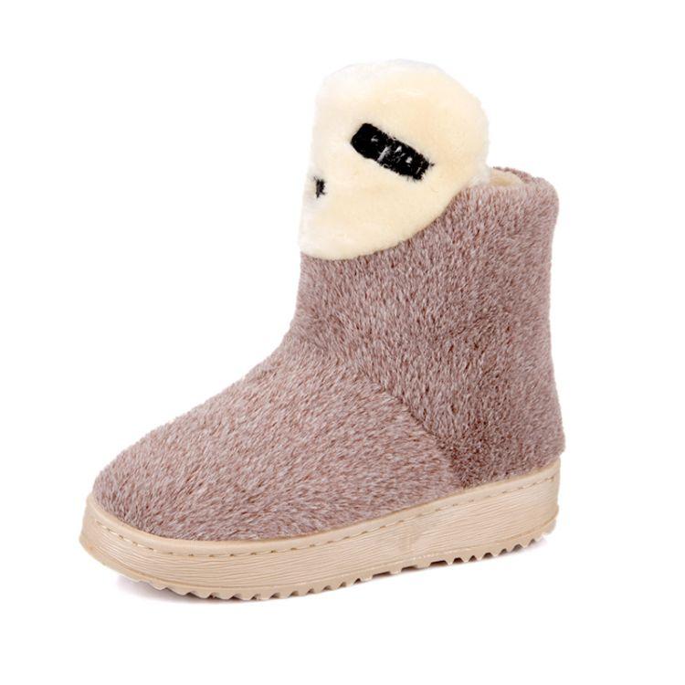 Winter Round Toe Stiletto Mid Heel Slip On Ankle Brown Suede Snow Boots