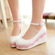 Fashion Round Toe Closed  Wedges High Heel Ankle S