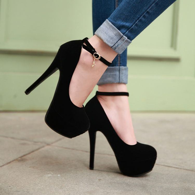Fashion Round Toe Closed Stiletto High Heel Ankle Strap Black PU ...