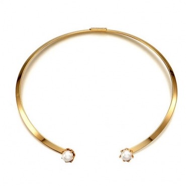 Fashion Pearl Gold Metal Necklace