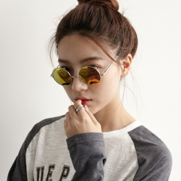 Retro Round Red Metal Sunglasses