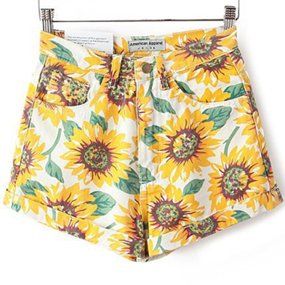Casual Woman Sunflower Print Slim High Waist Shorts