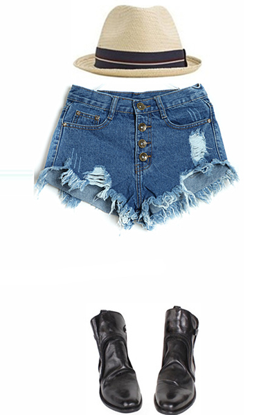 Fashion Woman Solid Button Fly Mid Regular Frayed Edges Dark Blue Cotton Shorts