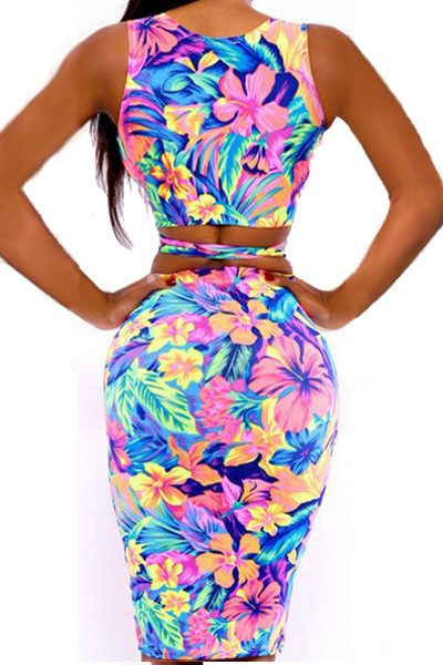 Sexy Deep V Neck Tank Sleeveless Sheath Printed Polyester Top+Skirt
