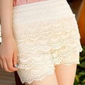 Fashion Blends Solid Elastic Waist Mid Regular White Cotton Shorts