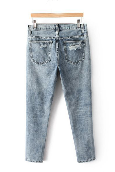 Fashion  Solid Button Fly Mid Loose Blue Cotton Pants