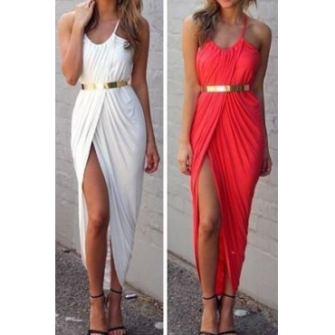 Sexy Bohemian V Neck Spaghetti Strap Asymmetrical Ankle Length White Spandex Dress(Waistband Not Included)