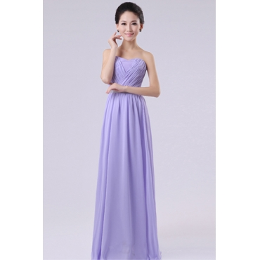 Fashion Strapless Off The Shoulder Sleeveless Purple Chiffon Floor Length Bridesmaid Dress