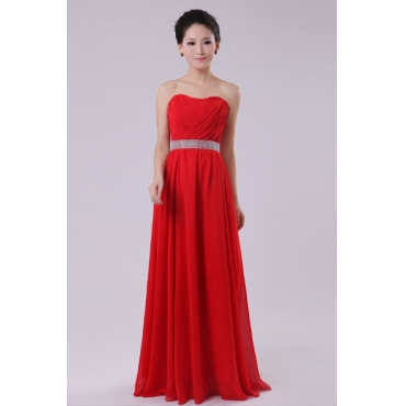 Fashion Strapless Off The Shoulder Sleeveless Red Chiffon Floor Length Bridesmaid Dress