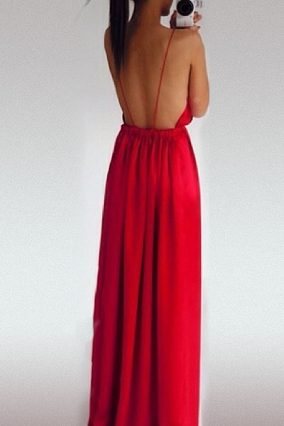 Front Split Red Polyester A Line Floor Length Party Dress QJ140709417