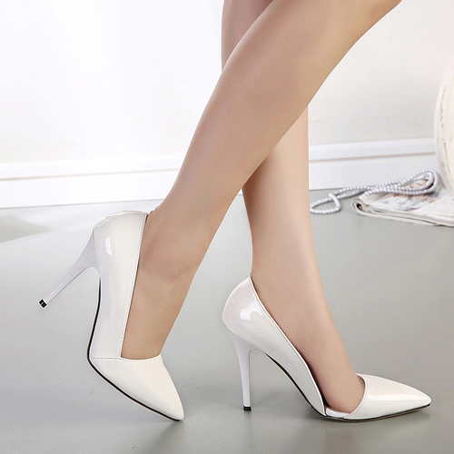 Fashion Pointed Closed Toe Stiletto Super High Heels Solid White