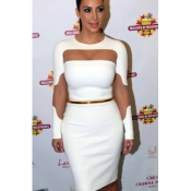 Sexy O Neck Long Sleeves Mesh Cutout White Polyester Sheath Knee Length Midi Dress