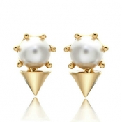 Fashion Pearl Embellished Rivet Shaped Gold Metal Earring