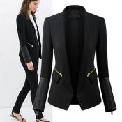 Fashion Long Sleeves PU Patchwork Zippers Designed Black Cotton Blend Blazer