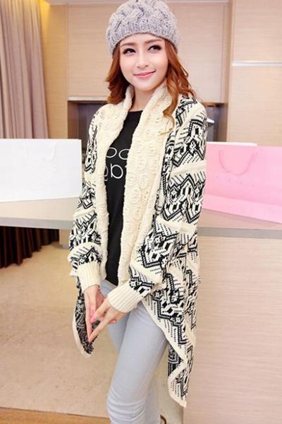 New Style Long Sleeves Geometric Patterns Print Beige Long Knitting Cardigan Sweater