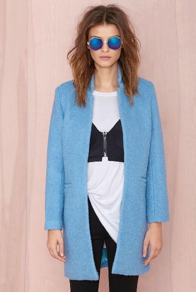 Cheap Mandarin Collar Long Sleeves Pockets Design Blue Long Wool Coat
