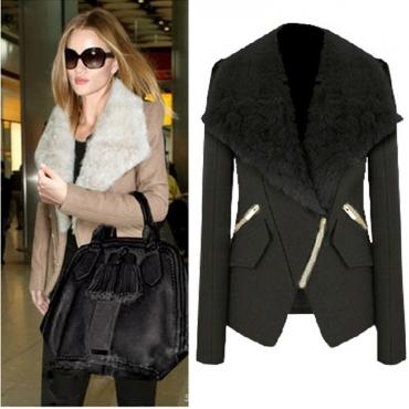 Cheap New Style Turndown Collar Long Sleeves Zipper Design Black Short Woolen Coat