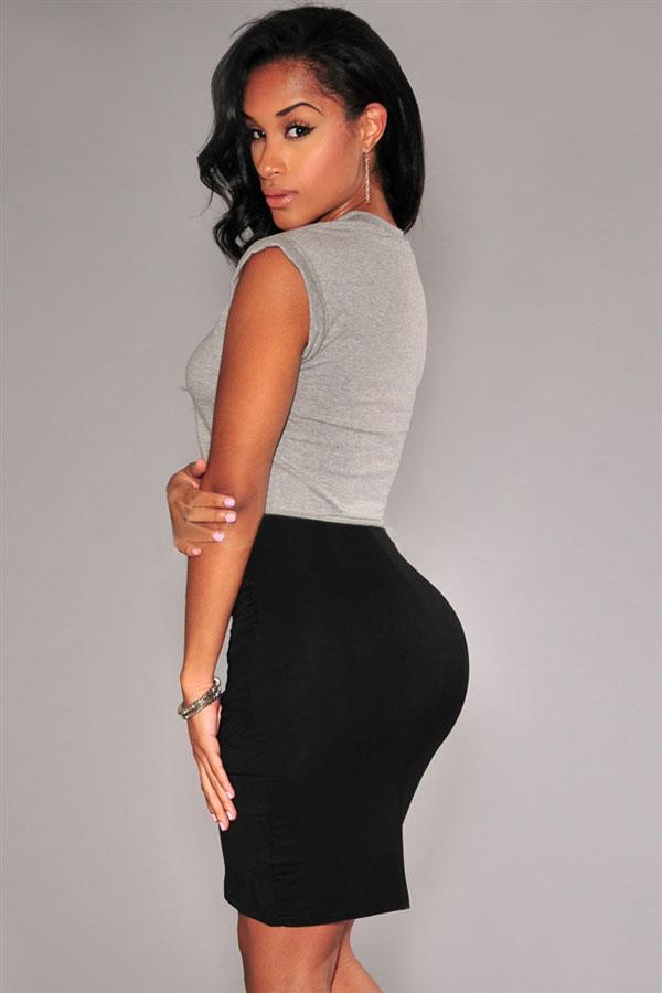 Cheap Sexy Draped Asymmetrical Solid Black Polyester Sheath Knee ...