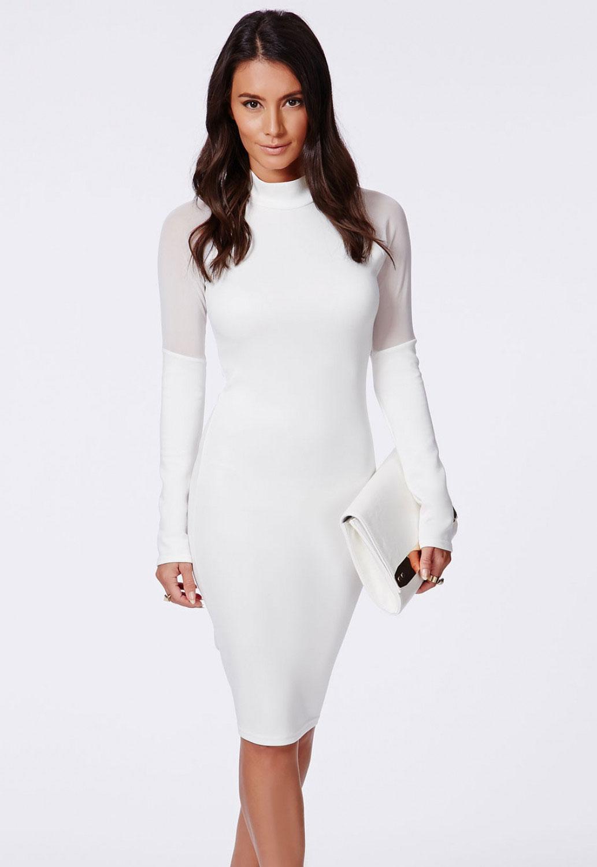 Images of White Turtleneck Dress Long Sleeve - Reikian