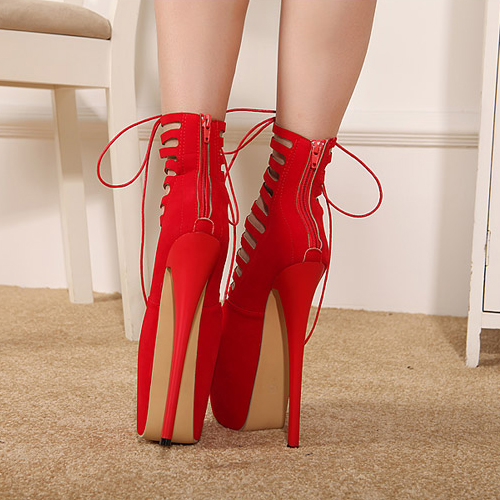Stylish Round Closed Toe Strappy Hollow-out Lace-up Stiletto Super High Heel Red PU Basic Pumps