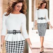 Cheap Fashion O Neck Three Quarter Sleeves Flouncing Design Plaids Patchwork Print White Sheath Knee Length Peplum Dress