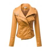 Cheap New Style Turndown Collar Three Quarter Sleeves Zipper Design Yellow Faux Leather Short Jacket